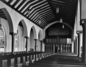 Primary view of object titled '[First Protestant Evangelical and Reformed Church, (Interior aisle)]'.