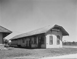 Primary view of object titled '[League City Railroad. Station, (Northwest oblique)]'.