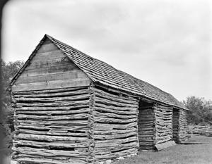 Primary view of object titled '[Log House, (Oblique)]'.