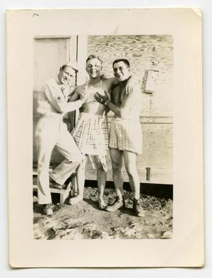 Primary view of object titled '[Three Soldiers Goofing Around in Camp]'.