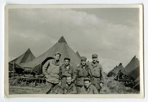 Primary view of object titled '[Six Soldiers in Camp]'.