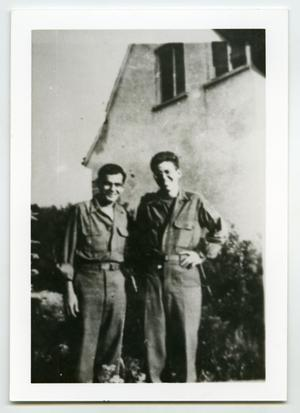 Primary view of object titled '[Two Soldiers Pose for a Photo]'.