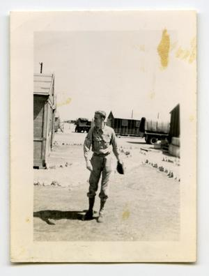 Primary view of object titled '[Photograph of Soldier in Encampment]'.