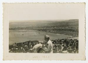 Primary view of object titled '[Two Soldiers Look Out Over the Prairie]'.