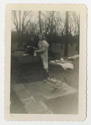 Primary view of object titled '[Photograph of Two Women at a Barbeque Pit]'.