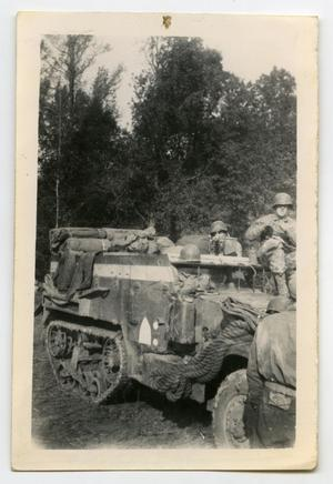 Primary view of object titled '[Photograph of Soldiers on Half-Track]'.