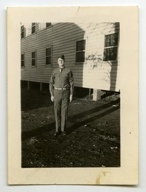 Primary view of object titled '[Photograph of Harold Wells at Camp Campbell]'.