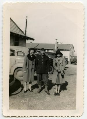 Primary view of object titled '[Photograph of a Soldier and Two Ladies]'.