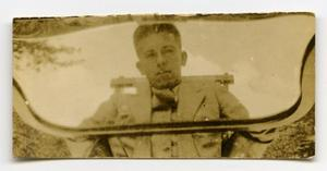 Primary view of object titled '[Photograph of Soldier in Mirror]'.
