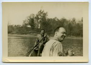 Primary view of object titled '[Two Laughing Soldiers in a Boat]'.