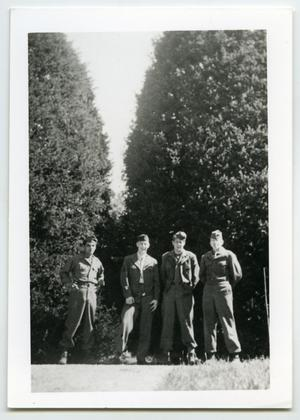Primary view of object titled '[Four Soldiers Pose in Front of Two Large Trees]'.