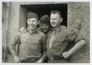 Primary view of object titled '[Photograph of Three Soldiers in a Doorway]'.