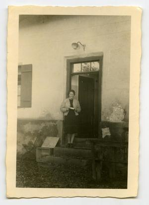 Primary view of object titled '[Photograph of Woman in Doorway]'.