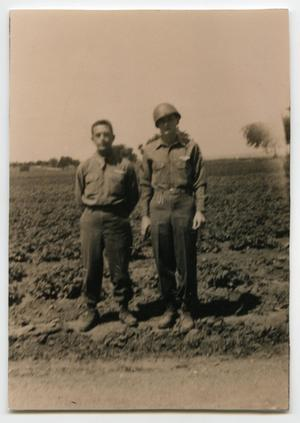 Primary view of object titled '[Photograph of Two Soldiers in Germany]'.