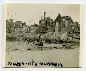 Primary view of object titled '[A View of the Destruction in Mannheim, Germany]'.