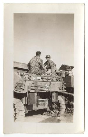 Primary view of object titled '[Two Soldiers Sitting on an Armored Vehicle]'.