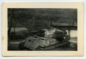 Primary view of object titled '[Photograph of a Parked Tank]'.
