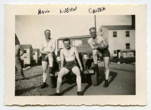 Primary view of object titled '[Photograph of 3 Soldiers in Shorts]'.