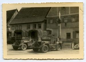 Primary view of object titled '[Photograph of Military Vehicles]'.