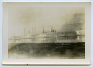 Primary view of object titled '[A Massive Ship in the Water]'.