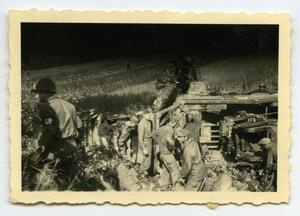 Primary view of object titled '[Soldiers Taking a Half-Track to Salvage]'.