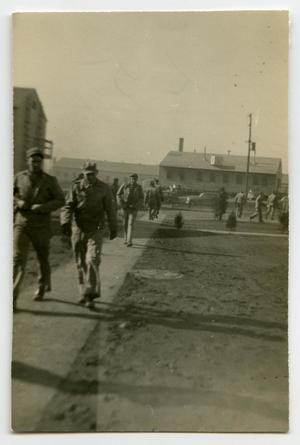Primary view of object titled '[Soldiers Around the Barracks Area]'.