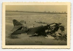 Primary view of object titled '[Photograph of Wrecked Nazi Airplane]'.