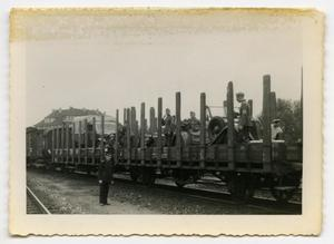 Primary view of object titled '[Nazi Soldiers Standing on Rail Cars]'.