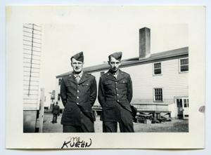 Primary view of object titled '[Photograph of Two Soldiers at Camp]'.