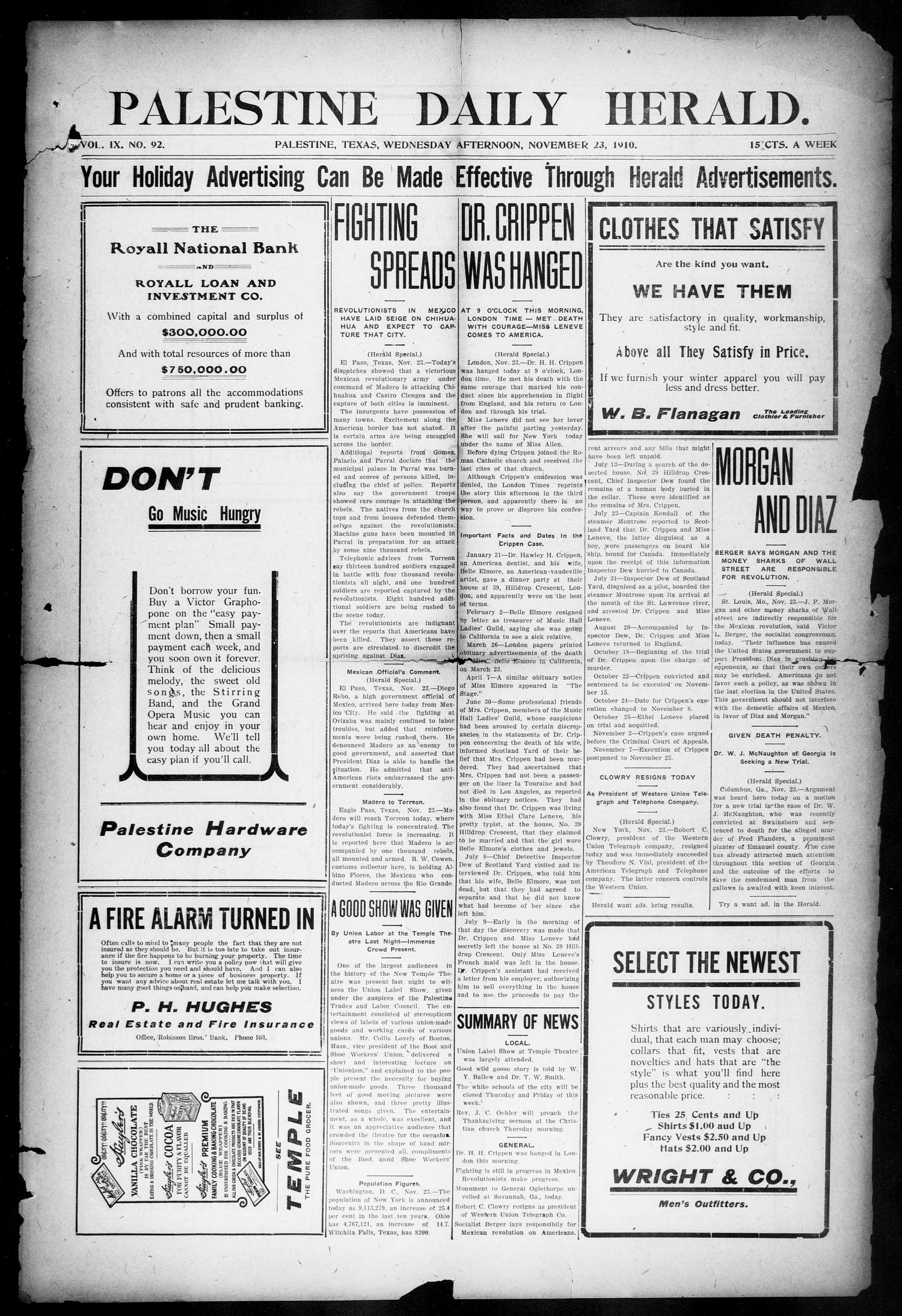 Palestine Daily Herald (Palestine, Tex), Vol. 9, No. 92, Ed. 1, Wednesday, November 23, 1910                                                                                                      [Sequence #]: 1 of 8