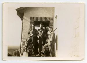 Primary view of object titled '[Four Soldiers Stand Together for a Photo]'.