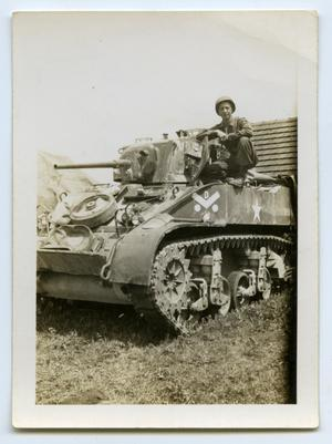 Primary view of object titled '[A Soldier Sitting on a Tank]'.