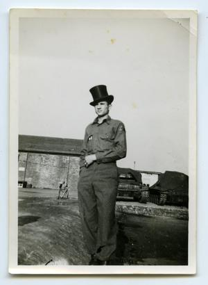 Primary view of object titled '[A Soldier Wearing a Large Derby Hat]'.