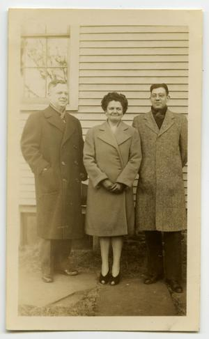 Primary view of object titled '[Photograph of Two Men and a Woman]'.