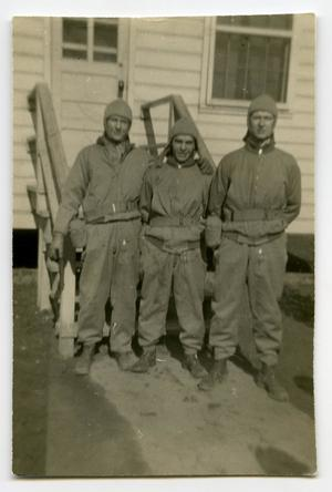 Primary view of object titled '[Three Soldiers Standing for a Picture]'.