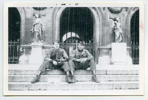 Primary view of object titled '[Photograph of Two Soldiers at an Opera House in France]'.