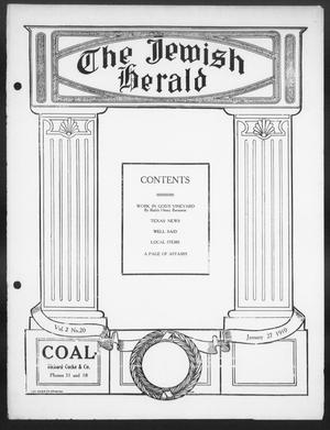 Primary view of object titled 'The Jewish Herald (Houston, Tex.), Vol. 2, No. 20, Ed. 1, Thursday, January 27, 1910'.