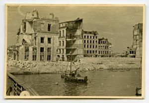 Primary view of object titled '[Photograph of Ruins by River]'.