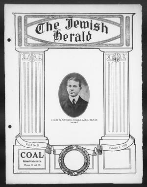Primary view of object titled 'The Jewish Herald (Houston, Tex.), Vol. 2, No. 21, Ed. 1, Thursday, February 3, 1910'.