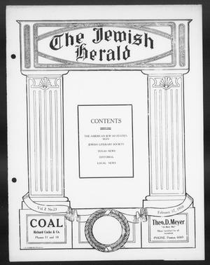Primary view of object titled 'The Jewish Herald (Houston, Tex.), Vol. 2, No. 23, Ed. 1, Thursday, February 17, 1910'.