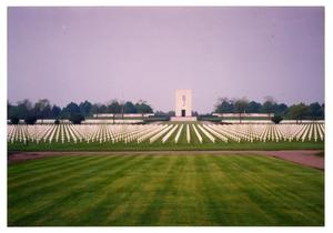 Primary view of object titled '[Hundreds of Markers at Military Cemetery]'.