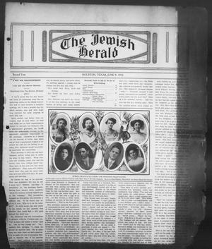 Primary view of object titled 'The Jewish Herald (Houston, Tex.), Vol. 2, No. 39, Ed. 1, Thursday, June 9, 1910'.