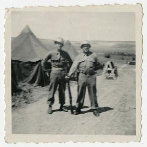 Primary view of object titled '[Photograph of Soldiers in Front of Tents]'.