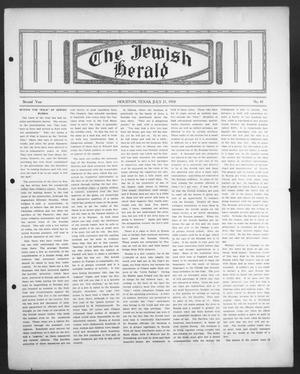 Primary view of object titled 'The Jewish Herald (Houston, Tex.), Vol. 2, No. 45, Ed. 1, Thursday, July 21, 1910'.