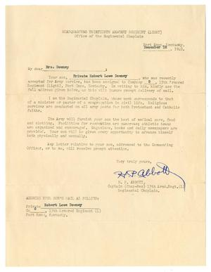 Primary view of object titled '[Letter from H. P. Abbott to Mrs. Downey - December 18, 1940]'.