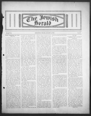 Primary view of object titled 'The Jewish Herald (Houston, Tex.), Vol. 2, No. 47, Ed. 1, Thursday, August 4, 1910'.