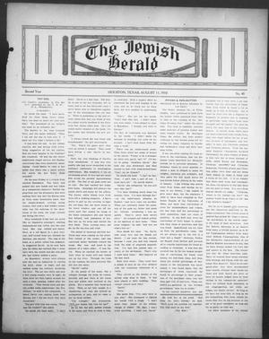Primary view of object titled 'The Jewish Herald (Houston, Tex.), Vol. 2, No. 48, Ed. 1, Thursday, August 11, 1910'.