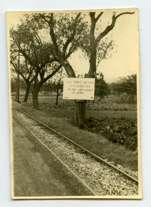 Primary view of object titled '[Photograph of Sign by Road]'.