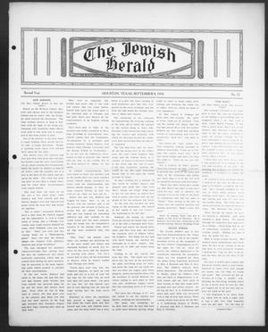Primary view of object titled 'The Jewish Herald (Houston, Tex.), Vol. 2, No. 52, Ed. 1, Thursday, September 8, 1910'.