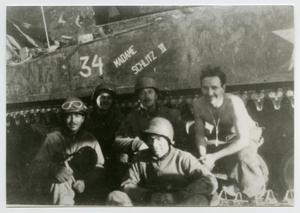 Primary view of object titled '[Photograph of Soldiers near a Tank]'.